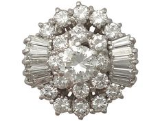 'Vintage Diamond Cluster Ring' | 4.10Ct Diamond and 14k White Gold Cluster Ring - Vintage Circa 1960
