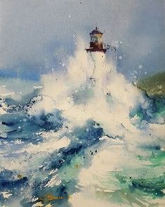 Wonderful watercolor works by Blanca Álvarez.art Shared by Veri Apriyatno Artist . Watercolor Ocean, Watercolor Landscape, Watercolor Paintings, Watercolours, Lighthouse Painting, Guache, Nautical Art, Watercolor Techniques, Art Photography