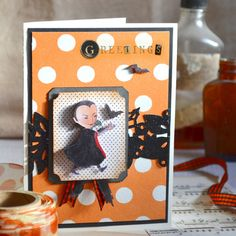 Halloween greetings made with Brenda Walton's Shadow Box and Winter Florals border from Sizzix