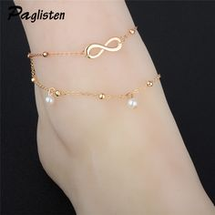 694b0ef17 New Fashion Infinite Beads Double Layer Foot Chain Anklets Leg Jewelry  Delicate Women Foot Jewelry Anklets Ankle Anklet Girl