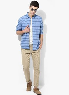 0a839132a9 Buy SCULLERS Blue Striped Slim Fit Casual Shirt Online - 4015117 - Jabong