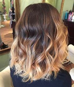 Image result for ombre hair brown to blonde medium length