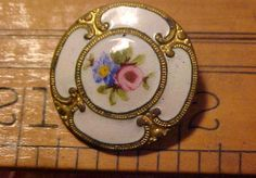 Antique Button White Enamel on Brass Foral Pattern Flower Victorian Looking Nice | eBay