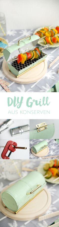 Kreative DIY-Idee zum Selbermachen: Mini-Grill basteln aus Konservendosen - Upcycling