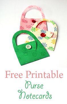 DIY Notecard Purses with Free Printable Template -       I'll use this idea to make some for Post - It notes but also for an ornament