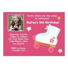 Roller Skate Birthday Invitations Roller Skating Birthday Party Invitation