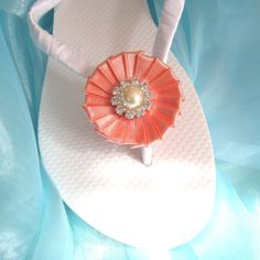 Salmon Pink Decorated Flip Flops / Bridal Wedding Flip Flops,Bridesmaids, Flower girls, Bridal Shower