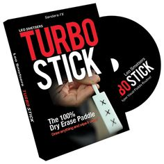 Turbo Stick by Richard Sanders - Eye candy...on a stick! Magician Leo Smetsers has produced a paddle that is made from 100% dry erase board. Whatever you write or draw on the paddle can immediately be wiped clean with your fingers. Draw anything on the paddle, transform it and then wipe it all clean in one swipe of the fingers. Turbo Stick allows you to perform almost any ... get it here: http://www.wizardhq.com/servlet/the-15042/turbo-stick-by-richard-sanders/Detail?source=pintrest