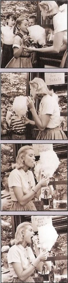 Grace Kelly having some cotton candy.