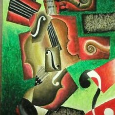 Cubism Guitar instrument oil pastel and collage art lesson