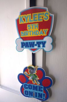 Paw Patrol Party Door Sign by ReallyRenata on Etsy Los Paw Patrol, Paw Patrol Party, Paw Patrol Birthday, Pup Patrol, Third Birthday, 4th Birthday Parties, Baby Birthday, Birthday Ideas, Escudo Paw Patrol