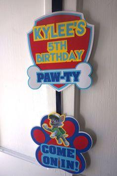 Paw Patrol Party Door Sign by ReallyRenata on Etsy Third Birthday, 4th Birthday Parties, Boy Birthday, Birthday Ideas, Paw Patrol Birthday Theme, Paw Patrol Party, Escudo Paw Patrol, Los Paw Patrol, Cumple Paw Patrol