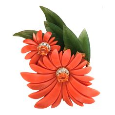 Sorab & Roshi Coral Chrysanthemum Flower Pin | From a unique collection of vintage brooches at https://www.1stdibs.com/jewelry/brooches/brooches/