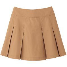 UNIQLO Women Cotton Mini Skirt ($3.90) ❤ liked on Polyvore featuring skirts, mini skirts, bottoms, saias, faldas, uniqlo, cotton mini skirt, short pleated skirt, beige pleated skirt and cotton skirts