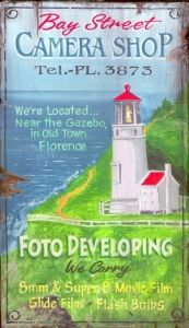 Florence Lighthouse - Vintage Beach Sign