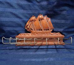 Vintage Sailing Ship Tie Rack Mens Belt Holder by CurioCabinet, $22.00