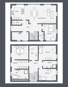 Grundriss Stadtvilla modern Floor plan of a modern city villa The Woodhouse, Tv Wall Design, Modern City, House Goals, Modern House Design, Exterior Design, Mudroom, Architecture Design, Floor Plans