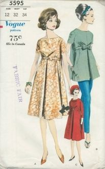 An unused original ca. 1962 Vogue Pattern 5595.  One Piece Maternity Dress, Blouse and Pants. Flared dress has center-front inverted pleat below released bust darts. Above waist-line belt passes through opening in side seams. Oval neck-line with or without bias roll collar. Below elbow length sleeves and short sleeves. Overblouse cut same as dress has pockets in side seams. Ankle length pants have adjustable front for expansion.