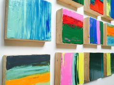 Original Modern Abstract Painted Wood Block Wall Art Sculpture