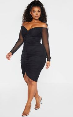 Plus Black Mesh Ruched Bardot Midi Dress This simple mesh LBD is sure to elevate your weekend wardrobe. Featuring a black mesh lined material . Plus Size Fashion For Women, Curvy Women Fashion, Girl Fashion, Womens Fashion, Curvy Women Style, Fashion Jobs, Emo Fashion, Gothic Fashion, Modest Fashion