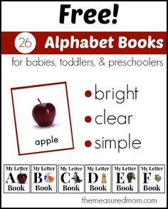 26 FREE alphabet books with large, bright pictures. perfect for helping toddlers and preschoolers begin to learn the alphabet. (It's working for my little guy! Toddler Learning, Toddler Preschool, Early Learning, Learning Activities, Kids Learning, Preschool Literacy, Preschool Printables, Free Printables, Book Letters