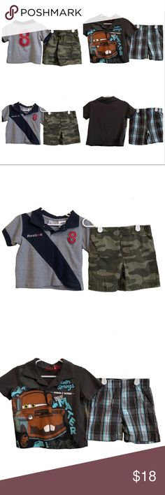 Lot of 4 REEBOK CIRCO CARS Toddler Boys Outfits This listing includes 4 pieces for toddler boys: 2 collared shirts, and 2 shorts. Reebok grey collared polo shirt, Circo green camouflage shorts, Cars Mater collared polo shirt, and Cars plaid shorts. All pieces are size 18 months and gently worn, without holes or stains- see photos for fabric detail. I'm always happy to answer questions! Check out my closet for many more baby and kids clothes; these listings are meant to be bundled! Reebok…