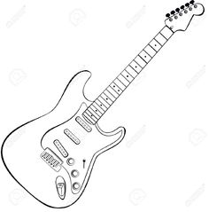 rock and roll coloring pages Electric Guitar Coloring Page Music