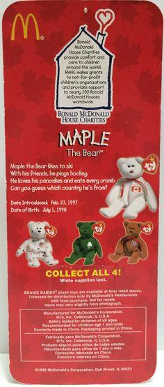(TAS030427) - 1999 McDonald s TY Beanie Babies - Maple The Bear fe56fee70506