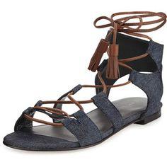 Stuart Weitzman Romanflat Denim Gladiator Flat Sandal