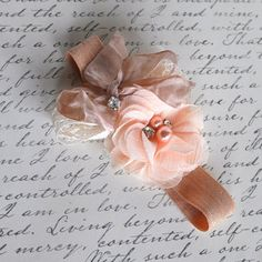 Vintage peach and nude  blossom and lace bows by TutusChicBoutique, $14.50