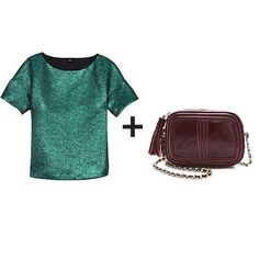 shimmery metallic green top + deep eggplant chain strap bag
