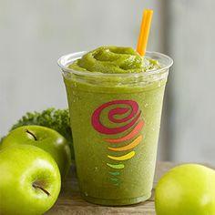 Apple 'n Greens™ Smoothie- Fresh Apple Juice, Strawberries, Kale, Bananas, Mangos, Peaches, Ice