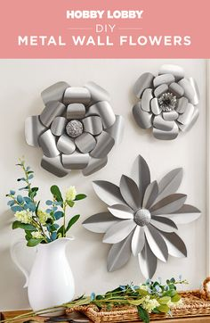 Looking for an accent piece with a bit of edge? Then look no further! Find the pattern for the petals on our DIY Projects & Videos page, cut out on metal sheets and nail to a wood plaque to recreate the look. Diy Projects Videos, Fun Projects, Metal Wall Flowers, Modern Industrial Decor, Scrapbook Paper Crafts, Easy Gifts, Flower Crafts, Hobby Lobby, Accent Pieces
