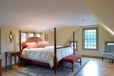 Bedroom With Wide Pine Flooring.Very Simple but beautiful! New England Homes, New England Style, New Homes, Attic Bedrooms, Home Bedroom, Colonial Bedroom, Primitive Bedroom, Pine Floors, Timber House