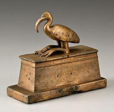 An ancient Egyptian ibis-mummy coffin; the ibis was sacred to Thoth, god of wisdom. (via @Nezka Pfeifer )