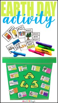 Teachers, this is a fun activity to incorporate into your Earth Day activities, study of the environment, to celebrate Earth Day, or to help students determine what types of things can be reduced, reused, or recycled to help save and protect the Earth! It's an easy way for kids in kindergarten, first grade, and second grade to learn what they can do to save the Earth!