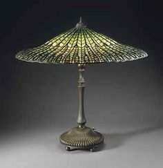 Lead Glass | TIFFANY STUDIOS | A 'LOTUS' LEADED GLASS AND BRONZE TABLE LAMP, CIRCA ...