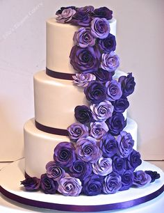 Cadbury purple roses wedding cake