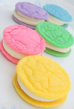 Pastel cookiewiches filled with buttercream — a bright and tasty way to welcome spring.