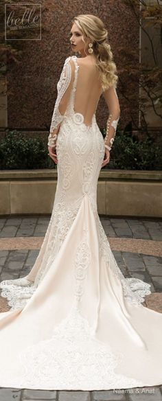Naama and Anat Wedding Dress Collection 2019 - Dancing Up the Aisle - Merengue a elegant fitted long sleeves deep v neck bridal gown with plunging back, full embellishment and cowl back sweep train #weddingdress #weddingdresses #bridalgown #bridal #bridalgowns #weddinggown #bridetobe #weddings #bride #weddinginspiration #weddingideas