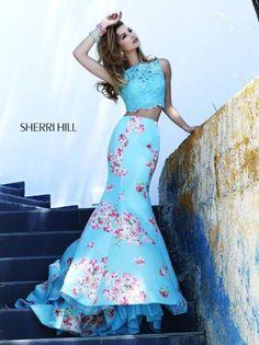 2016 Sherri Hill 32073 Light Blue Print Florl Two Piece Gown Sherri Hill Homecoming Dresses, Prom Dresses 2015, Prom Dresses Online, Prom 2015, Prom Dresses Two Piece, Two Piece Dress, The Dress, Dress Lace, Evening Dress Long