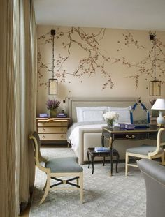 South Shore Decorating Blog: Manic Monday With Lots of Beautiful Rooms Love the wallpaper and wall sconces!