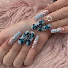 23 Ways to Wear Trendy Butterfly Nails This Summer - Hania Style Butterfly Nail Designs, Cute Acrylic Nail Designs, Butterfly Nail Art, Long Nail Designs, Best Acrylic Nails, Summer Acrylic Nails, Pretty Nail Designs, Fire Nails, Dream Nails