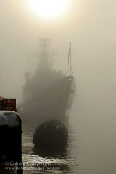 HMS CORNWALL | 'Type 22 frigate, berthed at Portsmouth in thick fog on a cold winter's day. The ship had returned from an eight month deployment on anti-piracy duties off the coast of Somalia, Africa.' ✫ღ⊰n
