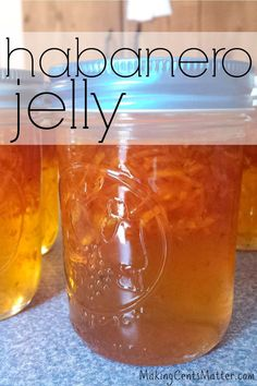 This super simple jelly is sweet with a kick, and is the perfect addition to some crackers and cream cheese. Canning Soup Recipes, Pressure Canning Recipes, Jam Recipes, Veggie Recipes, Pepper Jelly Recipes, Hot Pepper Jelly, Habenero Jelly, Habenero Pepper Jelly Recipe, Recipes