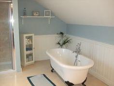 Farrow & Ball Parma Grey (much more blue than grey) for the bathroom Rustic Bathroom Vanities, White Vanity Bathroom, Brown Bathroom, Bathroom Ideas, Upstairs Bathrooms, Downstairs Bathroom, Grey Bathrooms, Seaside Bathroom, Small Bathroom