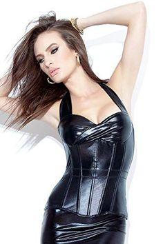 Darque Women's Black Leather Look PVC Halter Style Bustier