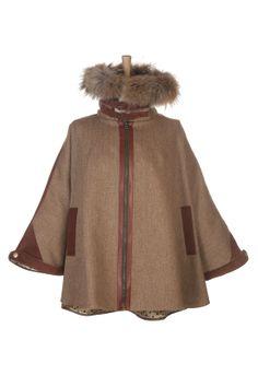 Cape in Brown Herringbone with a Racoon Fur trim   Ladies Tweed   Holland Cooper - Luxury Country Clothing from Holland Cooper - Tweed with ...