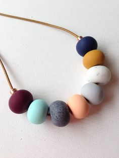 Polymer clay necklace, mustard & mulberry