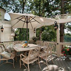 Pressure-treated deck with wood railing and lattice screen / arbor. Designed and built by Atlanta Decking. Pergola Designs, Deck Design, Decking Fence, Lattice Screen, Wood Railing, Fencing Companies, Decking Material, Backyard, Patio